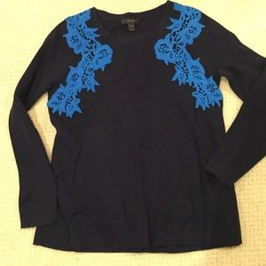 J Crew navy sweater with lace trim