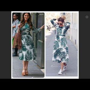 Zara Palm Print Belted Dress Small