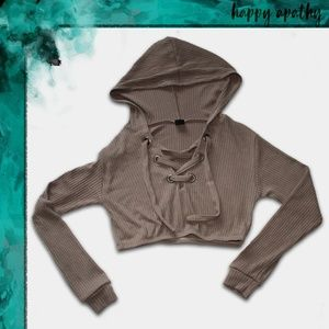 NWOT The Classic Brown Ribbed Lace Up Crop Hoodie