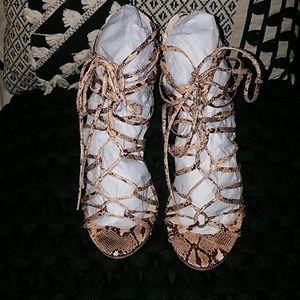 JustFab Snake Print Lace Up Heels