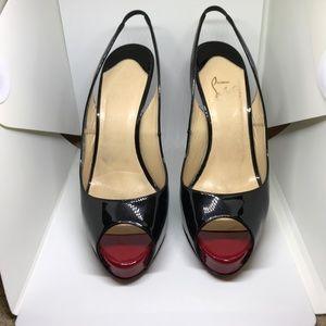 Christian Louboutin Black Peep Heels