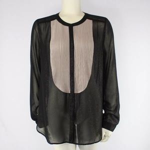 Silence Noise UO Pleated Bib Blouse Top Shimmer