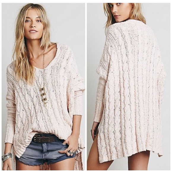 Free People Sweaters Easy Cable Knit V Neck Sweater Poshmark