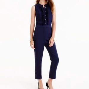 NWT!! Gorgeous silk and linen navy jumpsuit size 6