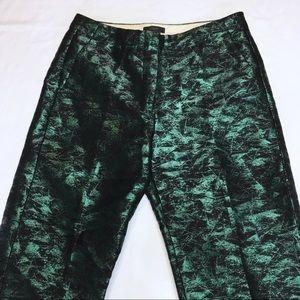 J. CREW Petite Patio Pant in Evergreen Jacquard
