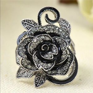 Jewelry - Black Marcasite Rose Cocktail Ring