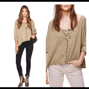 NWT Free People oversized Henley in moss sz m