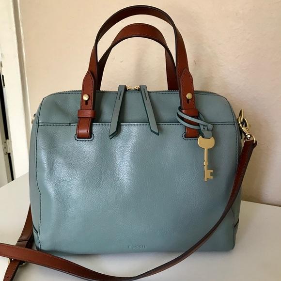 05ff030ad31a Fossil Handbags - Fossil Rachel Satchel Steel Blue