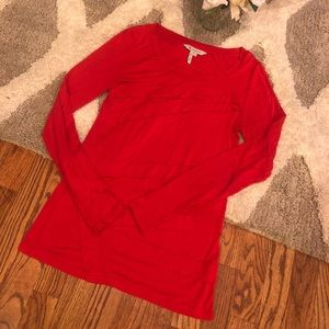 BCBGMaxazria red long sleeve blouse