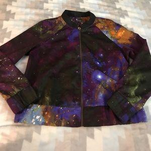 UO Sparkle & Fade Galaxy Bomber Jacket