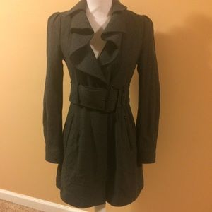 Ruffle detail coat
