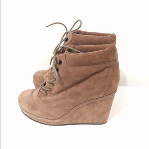 Beige wedge boots