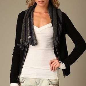 Free People zip up cable neck sweater