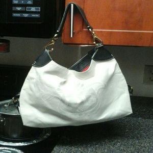 Dooney & Bourke White Canvas With Lesther Trim