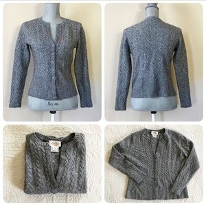 Talbots wool/cashmere gray cardigan sweater, M