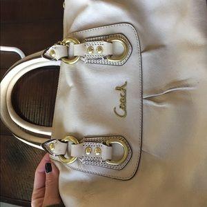 Coach cream leather satchel