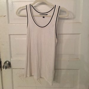 White with black lining tank top