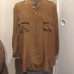 Madewell Brown Silk Top