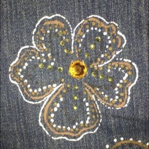 X2 Denim Embellished Jeans with Paisley Print/Gems