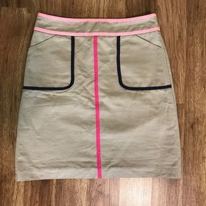 Boden Khaki Pink & Navy Trimmed Skirt US 4R UK 8R