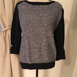 Karen Scott Black/White Boat Neck Pullover Sweater