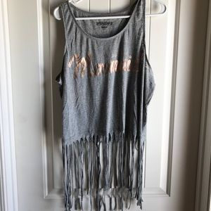Seventeen Shimmer Mermaid Fray Tank Top Shirt