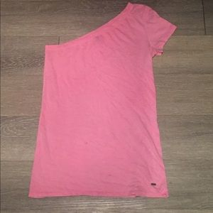Hot pink one shoulder/one sleeve shirt