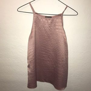 Topshop alligator textured satin tank top