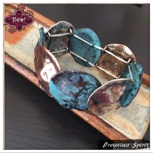 Tri-Tone Metal patina distressed stretch Bracelet