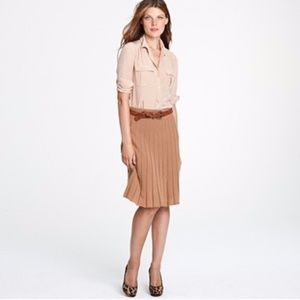J. Crew Camel Pleated Sweater Merino Wool Skirt