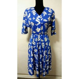 Vintage 80's blue retro print dress