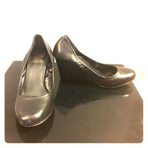 Vince Camuto black leather wedge