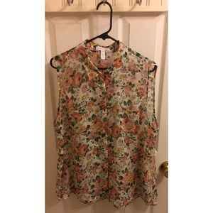 Plus Size Sheer Floral Button Down Sleeveless Top