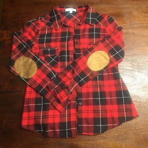 Plaid Flannel with arm patches size SMALL