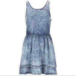 Topshop Moto Acid Wash Lace Up Dress