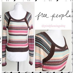 Free People Nordic Striped Mix Knit Sweater Small