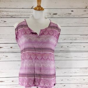 {PRANA} Purple Split Front Sleeveless Top