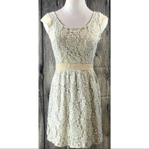 American Eagle Ivory Cream Lace Overlay Dress