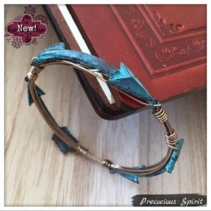 Turquoise metal patina arrow Wire cuff bracelet