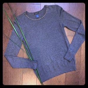 Ann Taylor Jeweled Crew Collar Sweater