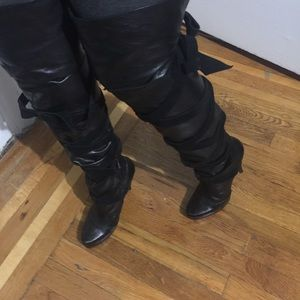 Fold over thigh high boots