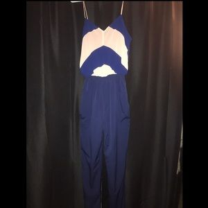 Cream and navy blue jumpsuit.
