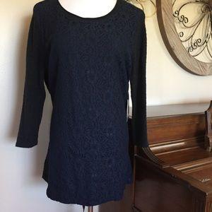 🆕 Simply Vera Wang Size Large Blue Lace Sweater