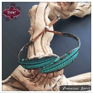 Patina turquoise feather leaf metal cuff bracelet