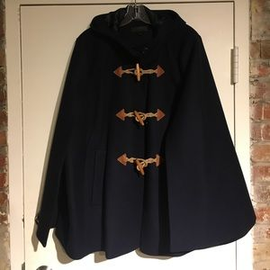J. Crew Toggle Cape in Wool Cashmere Navy