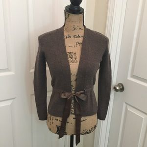 A. Giannetti Brown Cardigan with Ribbon Belt