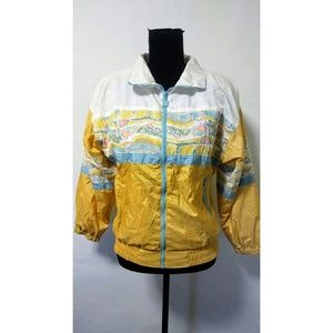Vintage 80's yellow print track jacket retro
