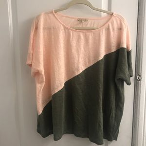 Anthropologie Linen Two-Color Top Sz M/L