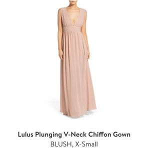 Blush gown with side slit