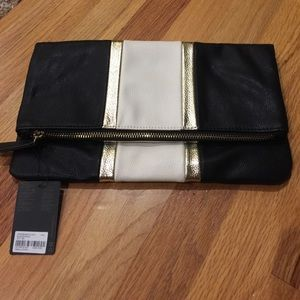 Forever21 NWT black/cream/gold foldover zip clutch
